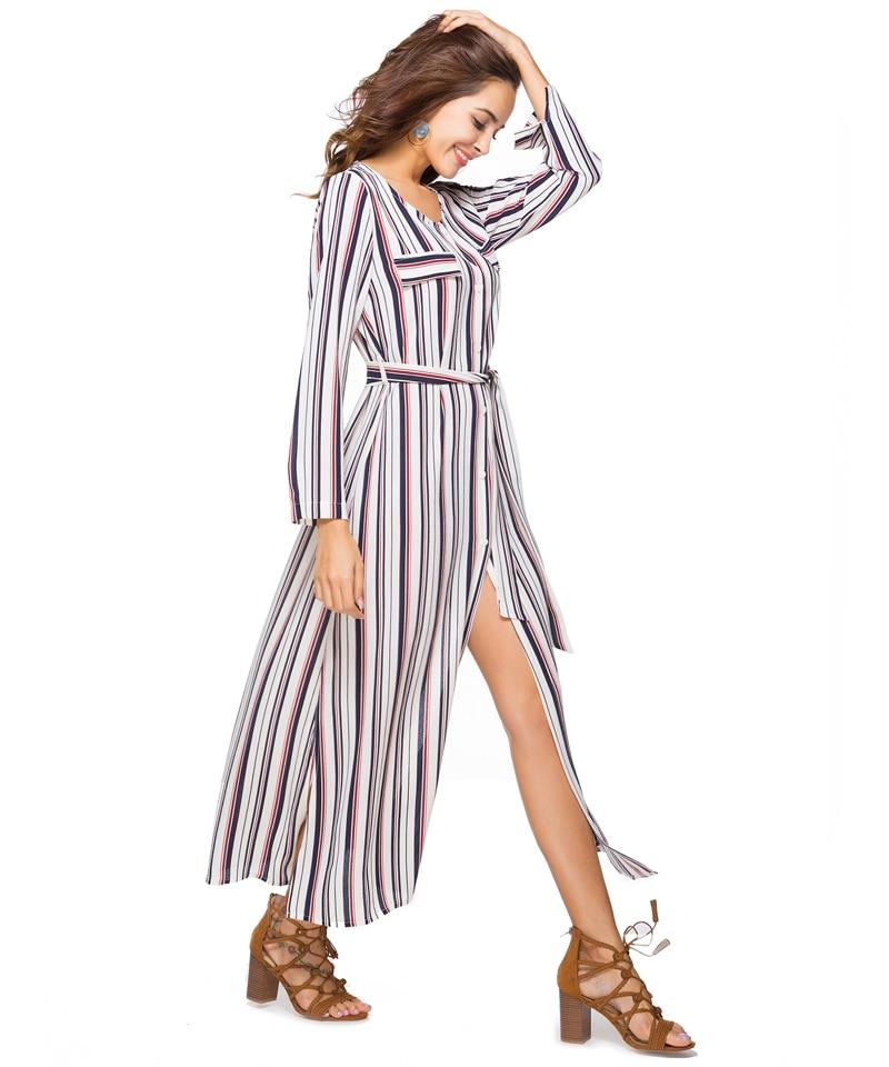 Women Summer Boho Maxi Dresses Large Size Elegant Casual Bohemian Long Stripe Dress Aline Plus Size 2018 Spring 14