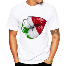 9a7fd2b3 Italy kiss funny tshirt men 2018 summer new white short sleeve casual homme  cool Italian color