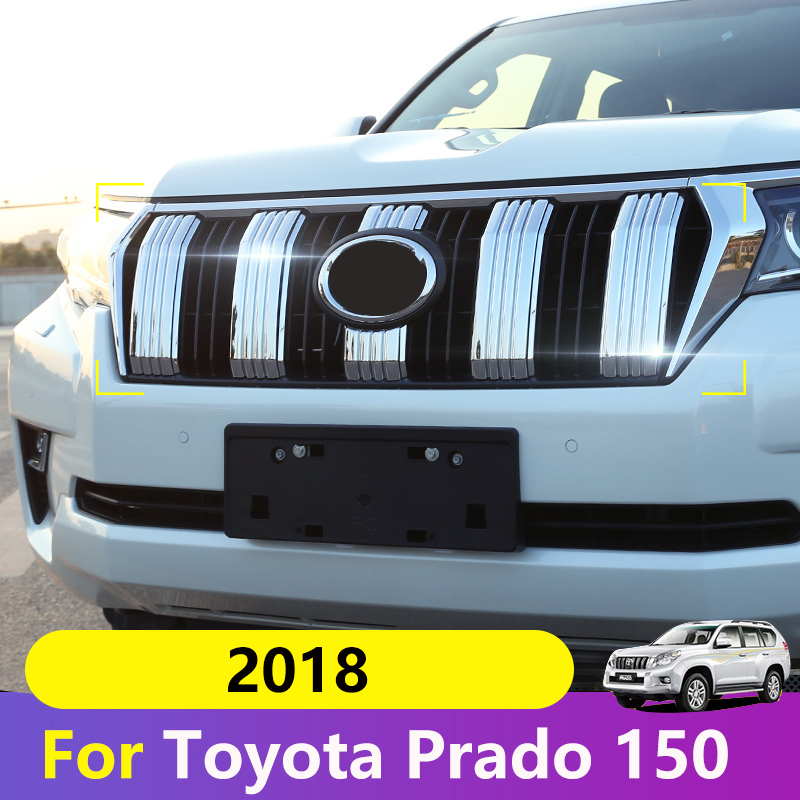 For Toyota Land Cruiser Prado FJ 150 2018 Car Front Grille Fence Trim Strips Grill Cover