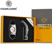 Cigarloong cigar lighter set scissors metal stainless steel portable twinset