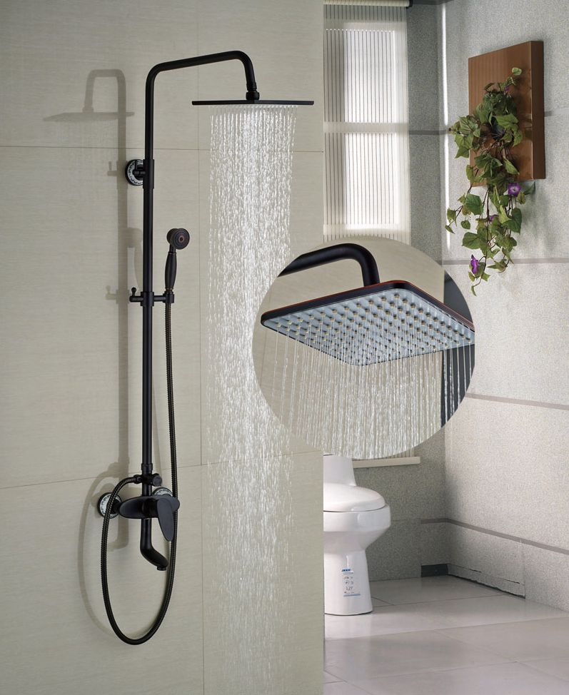 New Arrival 8-in Square Shower Faucet Bathroom Oil Rubbed Broze Shower Set Single Handle Tap