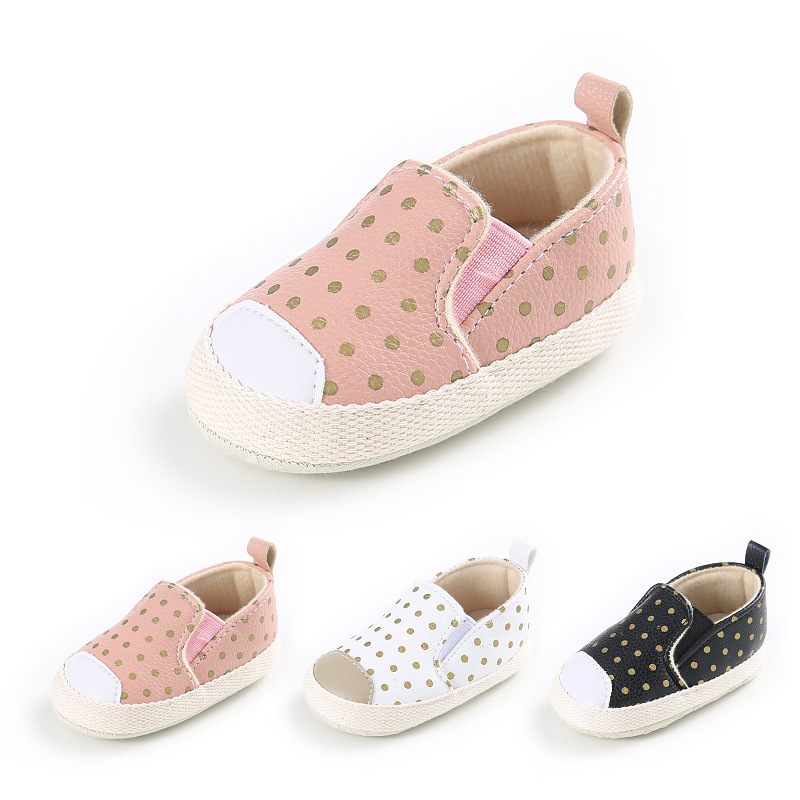 3colors Fashion PU Leather Infant Toddler Polka Dot Crib Bebe Unisex Kids Children Prewalker Shoes Newborn First Walkers 0-1 Yea