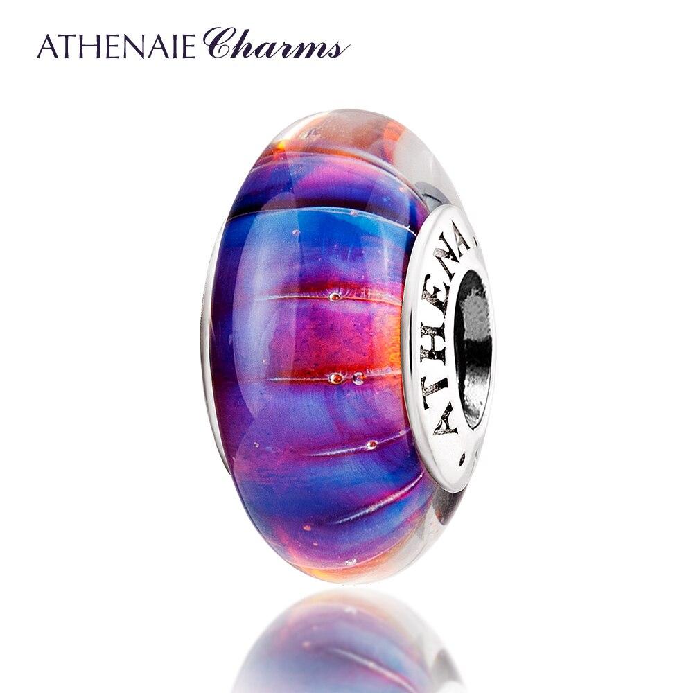 ATHENAIE Véritable Murano Verre 925 Argent Core Pourpre Dreamland Charmes Perle Fit Tous Les Bracelets Européens Cadeau pour le Jour De Noël