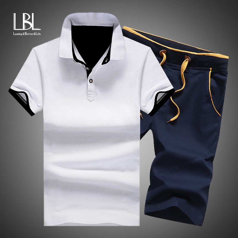 Mens Polo Shorts Sets Summer Cotton Button Polo Shirts Sets 2019 Mens Shorts Clothes 2 Piece Set Tracksuit Elastic Waist Shorts