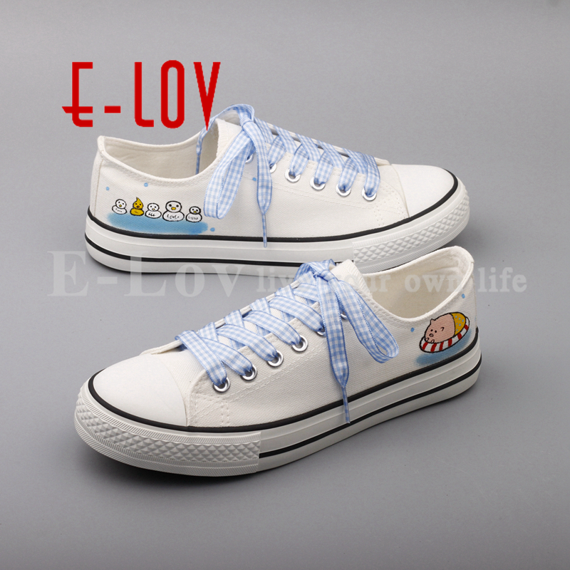 E-LOV Fashion Design Cartoon Animal Painted Canvas Shoes Women Customized Graffiti White Casual Flat Oxford Shoes For Women e lov women casual walking shoes graffiti aries horoscope canvas shoe low top flat oxford shoes for couples lovers