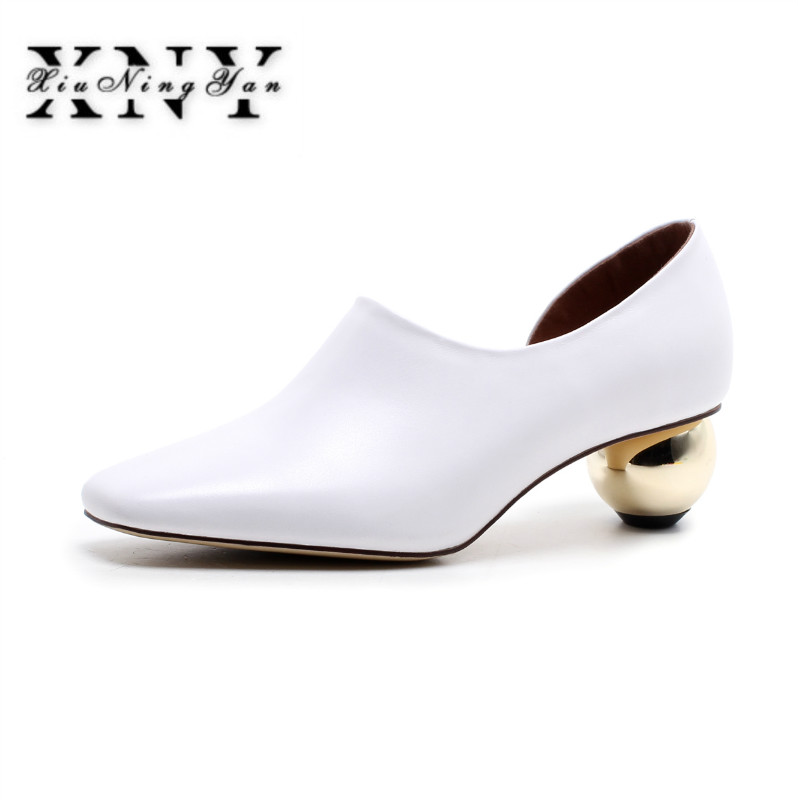 XIUNINGYAN Women Spring Pumps Fashion Genuine Leather Thick High Heeled Pointed Toe Comfortable Wedding Shoes Woman Party Pumps
