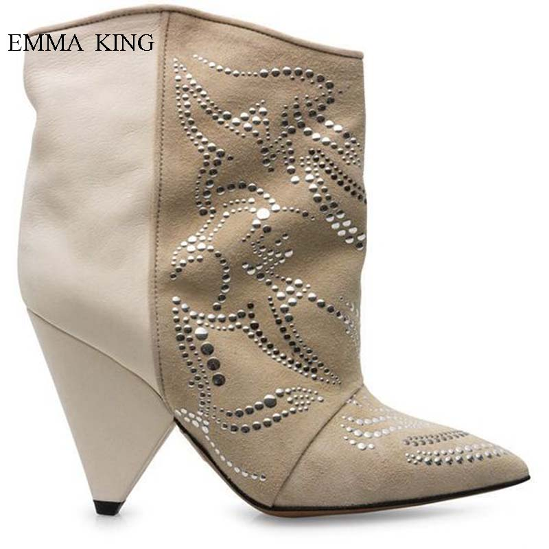 Popular Pointy Toe Spike Heels Rivets Studded Ankle Boots for Women Motorcycle Boots Slip On Botines Mujer Autumn Winter ShoesPopular Pointy Toe Spike Heels Rivets Studded Ankle Boots for Women Motorcycle Boots Slip On Botines Mujer Autumn Winter Shoes