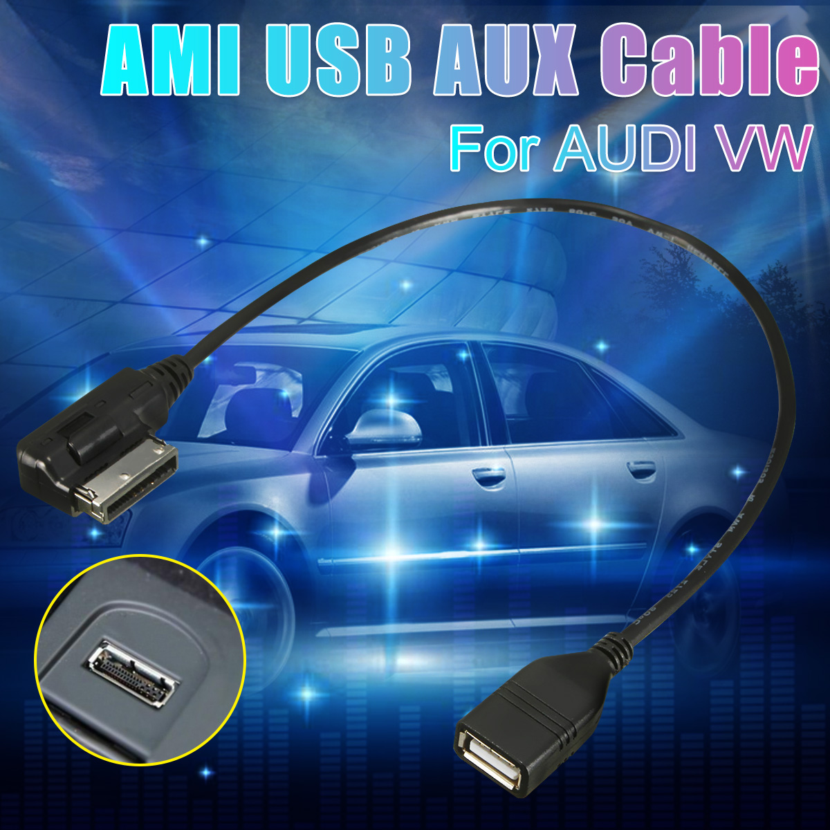 Mdi Mmi Ami Aux To Usb Female Audio Aux Adapter Cable Wire