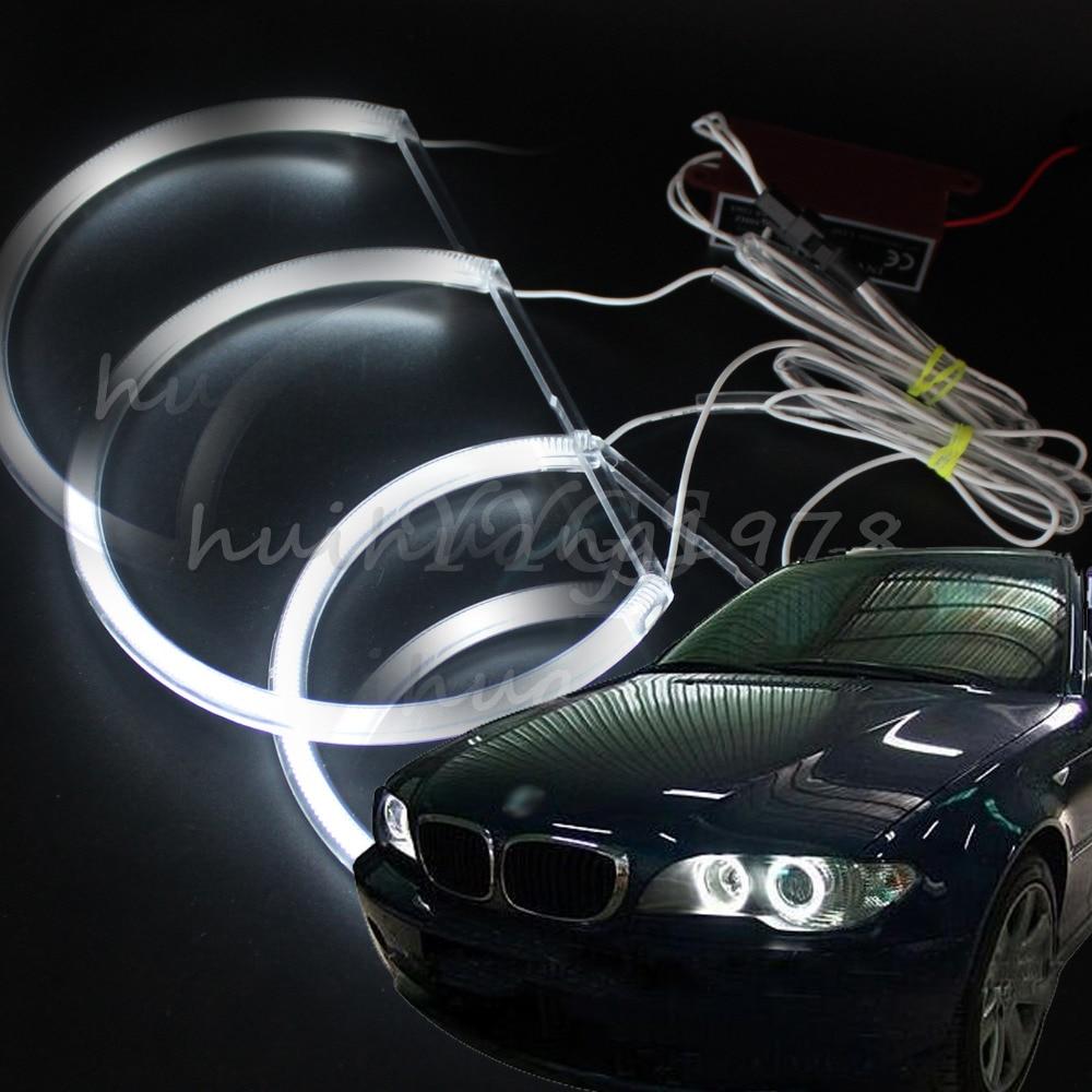 2x131MM 2x146MM Angel Eye Halo Anneaux Light CCFL For BMW E46 3 Series 4Doors White 1999