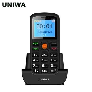 Uniwa V708 Charging Cradle Senior Kids Feature Keypad Mobile Phone 2G GSM Push Big SOS Large Button Key Cellphone Bluetooth 2.0 telephony