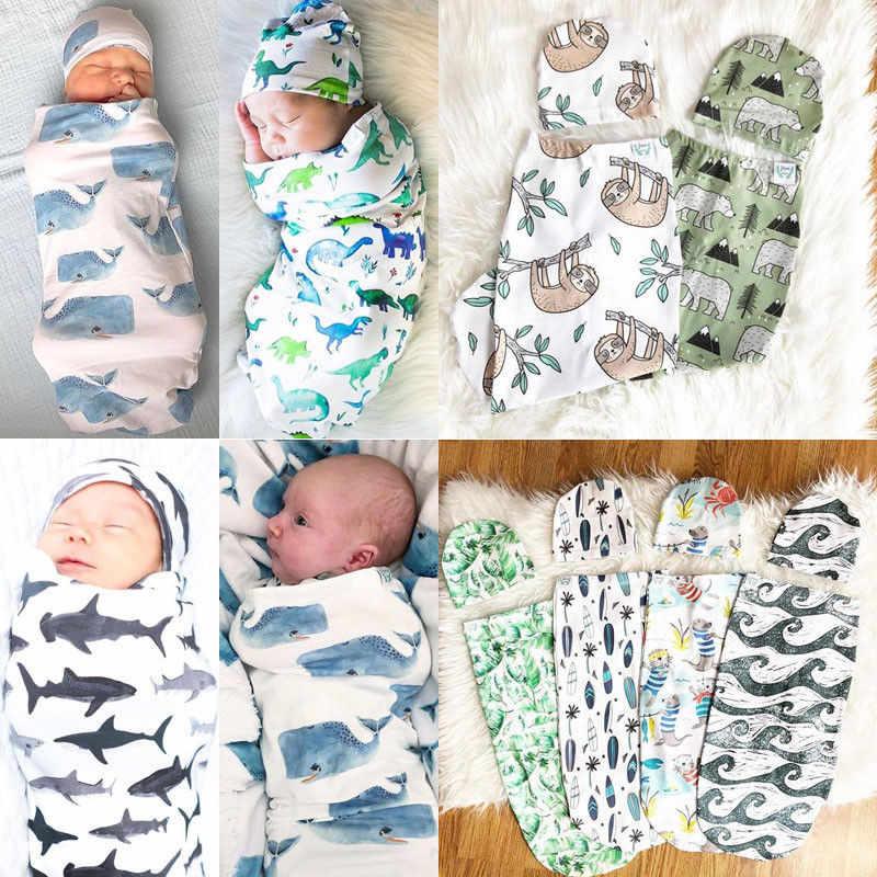PUDCOCO хлопок для новорожденных Акула одеяло муслиновая пеленка Пеленальный мешок + шляпа