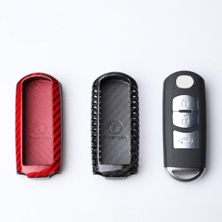 Carbon Fiber Car Remote Key Case Cover For Mazda 2 3 6 Axela Atenza CX 5