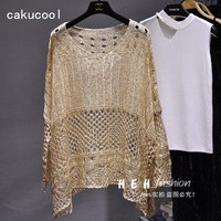Cakucool Gold Lurex Summer Blouse Shirt Long Batwing Sleeve O neck Hollow Out Knit Top Loose Bohemian Design Large Shirts Blusa