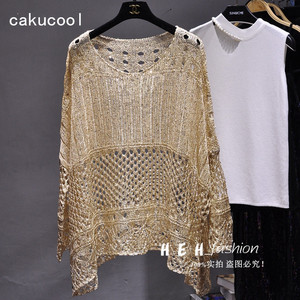 Cakucool Gold Lurex Summer Blouse Shirt Long Batwing Sleeve O-neck Hollow Out Knit Top Loose Bohemian Design Large Shirts Blusa(China)