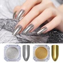 BORN PRETTY 2 Boxes Gold Silver Nail Glitter Powder Mirror Powder Flak