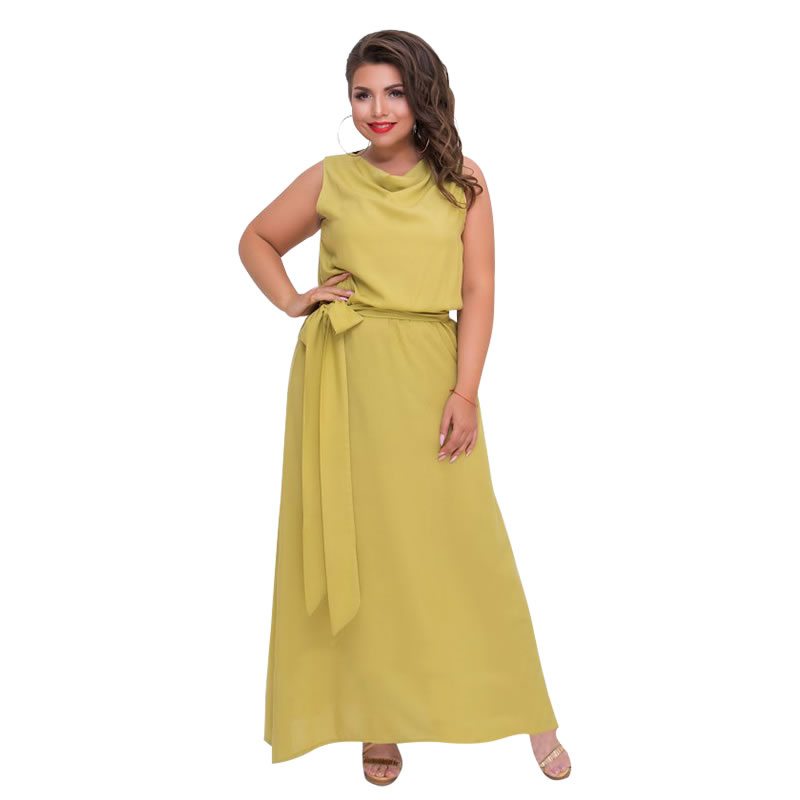 US $14.66 45% OFF|Elegant Night Party Dress Long Summer Maxi Dress  Sleeveless Yellow Beach Dress Plus Size Women Dress 5XL 6XL Robe Femme Ete  2018-in ...