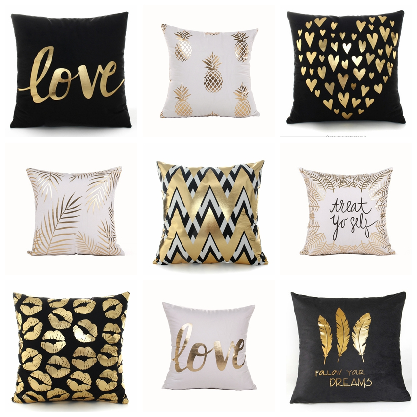 Us 2 16 53 Off Almofada Bronzing Gold Black And White Pillowcase Leaves Feature Cushion Decorative Pillows Home Decor Sofa Throw Pillow 17 17in In