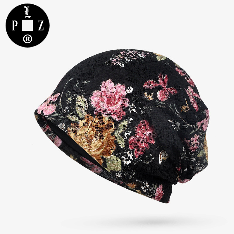 PLZ Beanies women 3pc lot Floral Lace Beanie Hat Casual Summer Flower Thin Sunscreen Female Hat