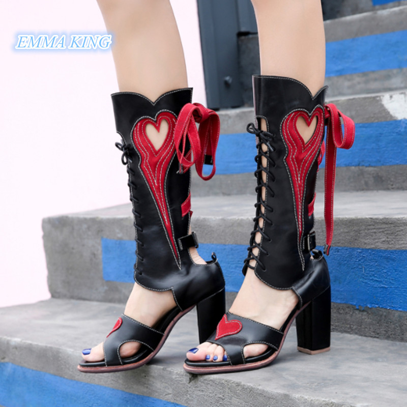 Mixed Colors Leather Lace-Up Open Toe Cowboy Sandals Boots Women Fashion Cross-tied Chunky High Heels Ladies Shoes Zapatos MujerMixed Colors Leather Lace-Up Open Toe Cowboy Sandals Boots Women Fashion Cross-tied Chunky High Heels Ladies Shoes Zapatos Mujer