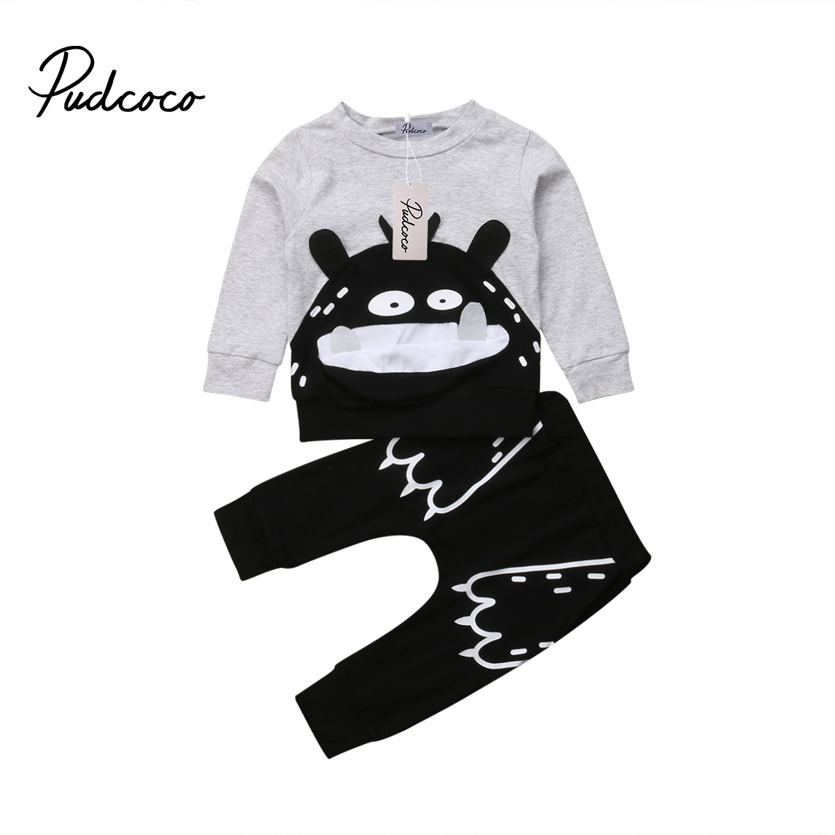 Pudcoco 2018 New Tollder Kid Baby Clothing Boy Girl Clothes Sweatshirt Tops Pants Infant Outfits Tracksuits novel features FX