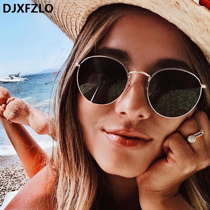 DJXFZLO Luxury Sunglasses Women/Men Brand Designer Glasses Lady Oval Sun Glasses Small Metal Frame  Oculos De Sol Gafas