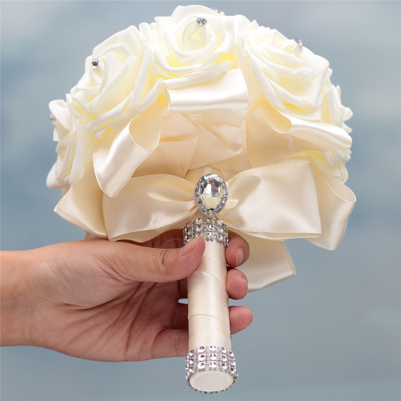 Купить с кэшбэком Stock Pure White PE Flower Foam Wedding Bouquet De Mariage Wedding Bouquets AND Ivory Cream PE Rose Diamond Ribbon Bouquet W2018