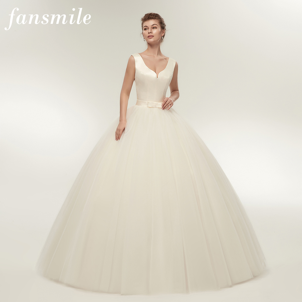 Fansmile New Arrival V Neck Satin Ball Wedding Dresses 2017 Plus Size Customized Bridal Gowns Vestido de Casamento FSM-340F