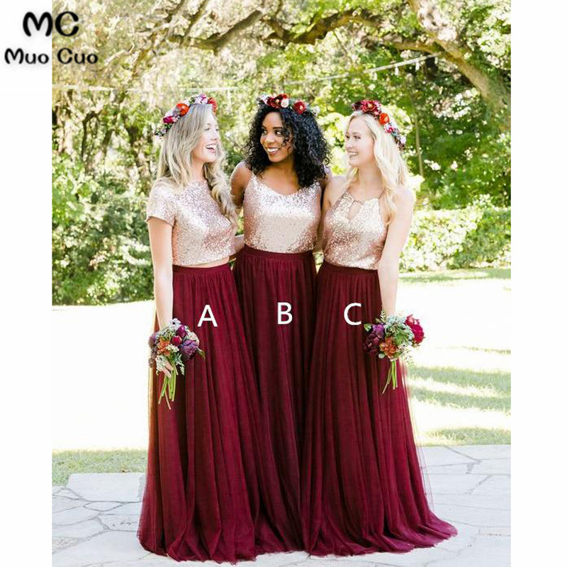 2018 Burgundy   Bridesmaid     Dresses   Long Cap Sleeve Formal Wedding Party   Dress   Custom Made Sequined Women   Bridesmaid     Dress