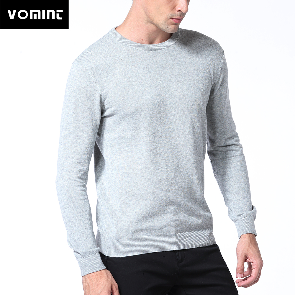 Vomint Spring Basic Mens Sweater Pullovers Solid O-neck Knitted Cotton Fabric All Match Wear Multi Color Regular Fit U6PI6833