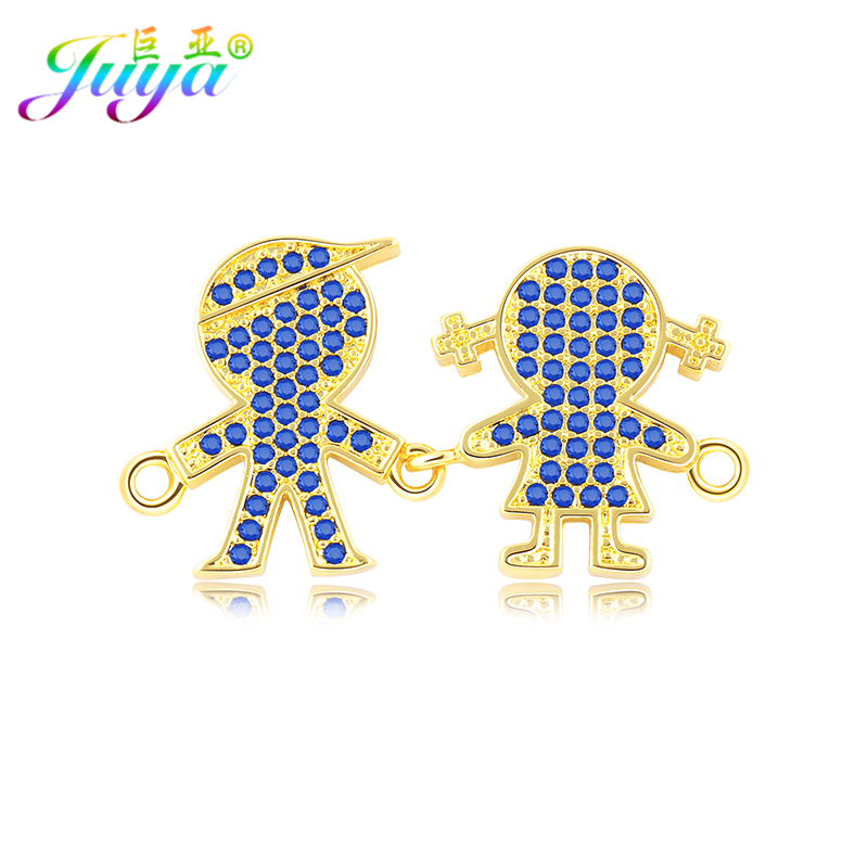 Handmade Jewelry Components Gold/Rose Gold Friendship Boy and Girl Connector Accessories For Women Bracelets Necklace DIY Making