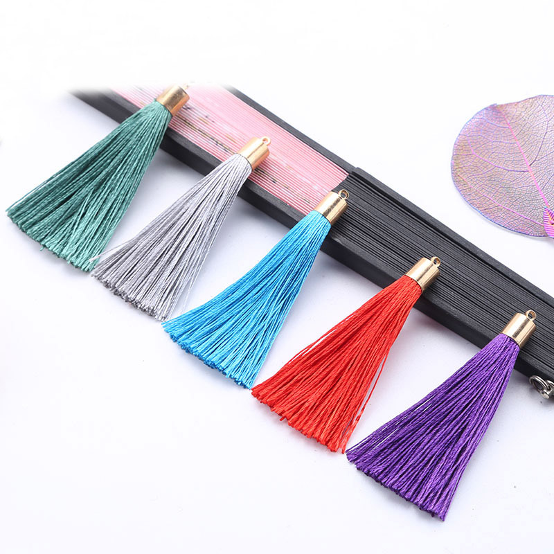 2019 New 10pcs/lot 6cm Small Cotton Silk Tassel Cords For Earrings With Metal Caps Charm Pendants Tassel Jewelry Making Findings
