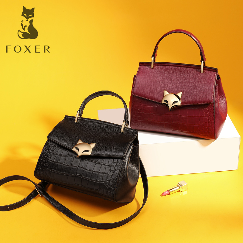 FOXER Brand Women Genuine Leather Handbag Female New Fashion Ladies Shoulder Bag & Crossbody Bag Small Flap Bag For Girl foxer women s split leather handbag female new fashion shoulder bag ladies versatile crossbody bag small flap bag for girl