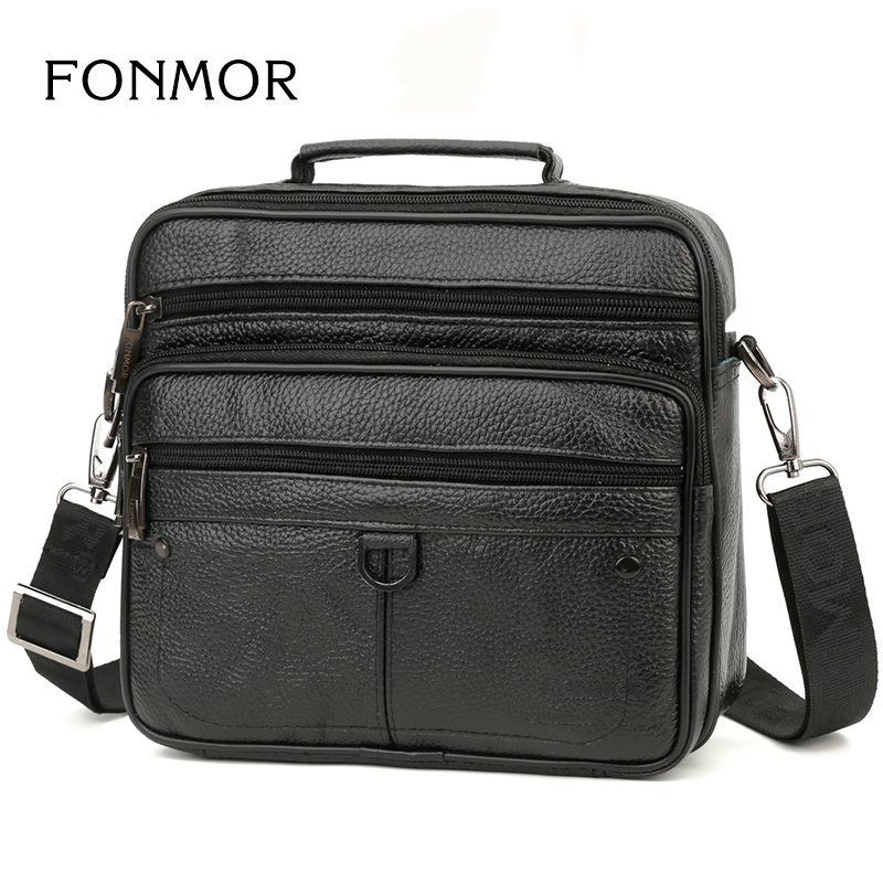 FONMOR Business Causal Genuine Leather Briefcase For Men Travel Bag High Quality  Min Ipad  Shoulder Hand Bags Crossbody Bags