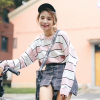 2016 New Arrival Casual Knitted O Neck Full Regular Pullovers Regular Striped Standard Sweaters