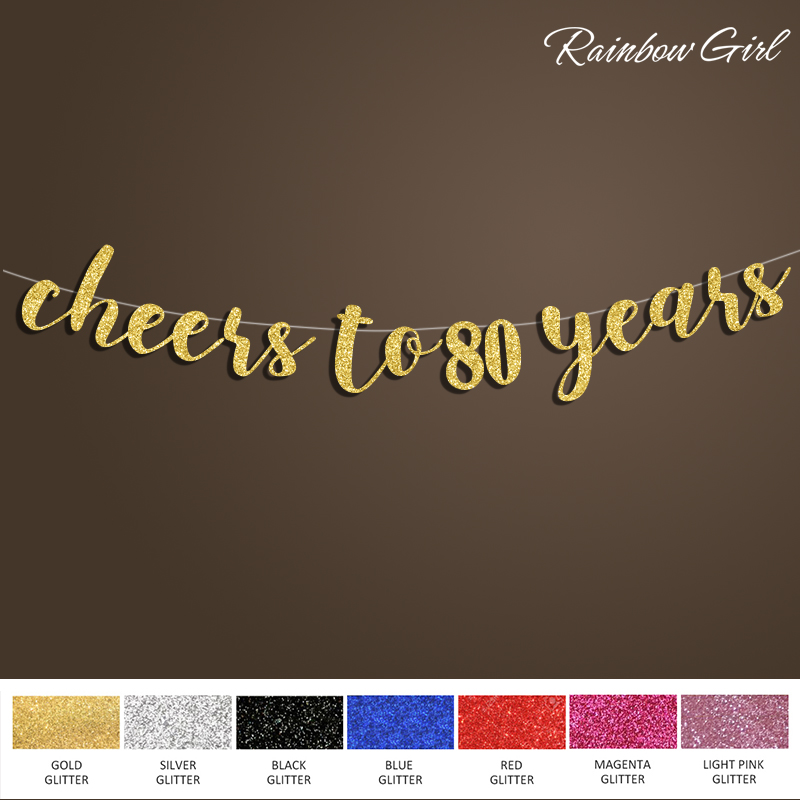 Cheers to 80 Years Banner,80th Birthday Glitter Sign,80 Anniversary Party Decorations Supplies