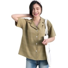 2019 tee shirt femme Fashion Casual V-Neck Button Up Plaid Tops Loose Sexy Woman