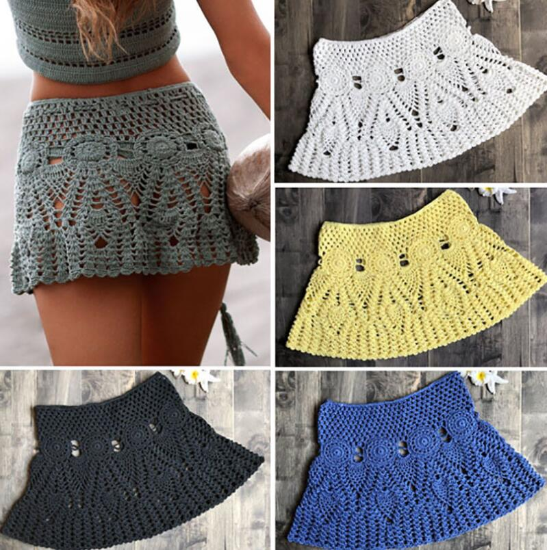 2018 handmade beach cover up skirts hook summer holiday skirt boho cotton pencil mini skirts crochet skirt муфты ганзена