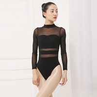 Women leotard high neck mesh ballet leotard for ladies