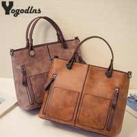 Lady Top-handle Bags Vintage Handbags Women Casual Big Shoulder Bag Tote for Girls Pocket Outside Crossbody Bags Tote Bags