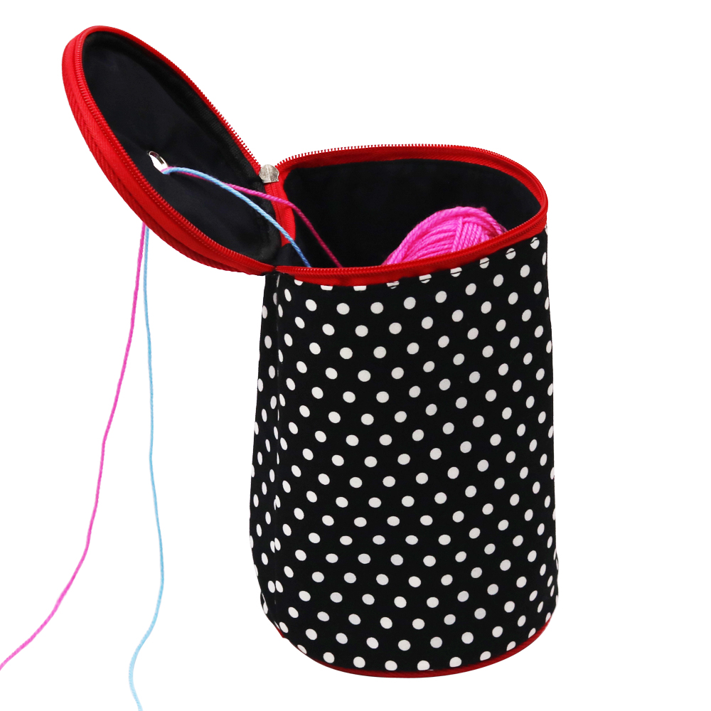 Portable Lightweight Polka Dots/Blue Plaid Yarn Case Round Fabric Bags Knitting Yarn Storage Baskets for Yarn Projects Black