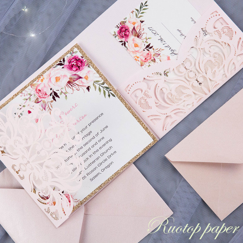 50pcs Custom Color Wedding Invitations Card Pearl Paper Laser Cutting Invitation Flowers Hollow Greeting Cards In From