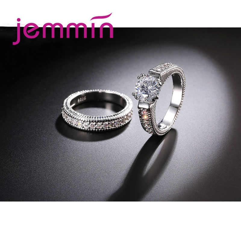 2 unids/lote de anillo redondo blanco de cristal para mujer, anillo de compromiso de plata 925 de lujo para mujeres, señoras, amantes, fiesta, boda