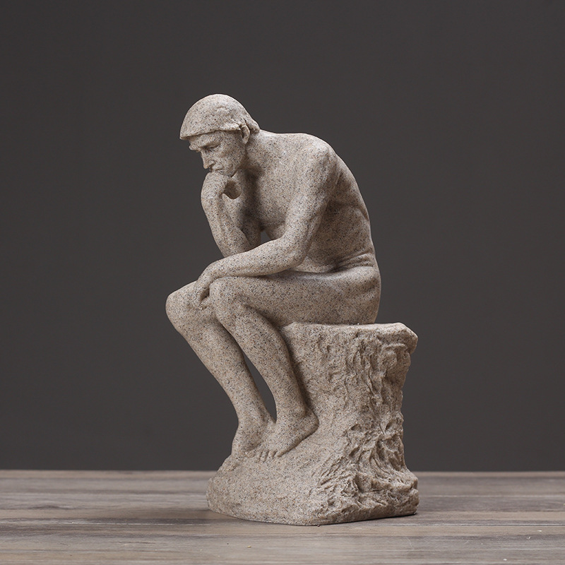Rodin The Thinker Statue Fine Art Sculpture Male Nude Figure Real Resin Powder Cast Room Home
