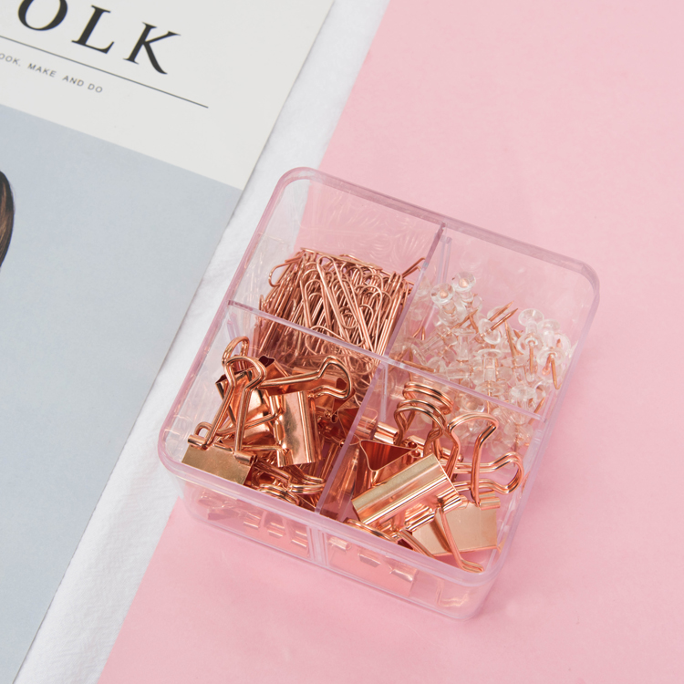 171pcs/box Luxury Binder Clip Set Push-Pin Map Tacks Rose Gold Paperclips Bookmark for Photos Tickets Notes Book Marks Clips171pcs/box Luxury Binder Clip Set Push-Pin Map Tacks Rose Gold Paperclips Bookmark for Photos Tickets Notes Book Marks Clips