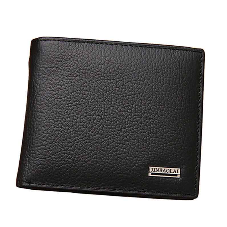 Fashion Men Wallets 100% Quality Genuine Leather Coin Pocket Wallet Black Coffee Short Style Card Holder Purse Free Shipping 009