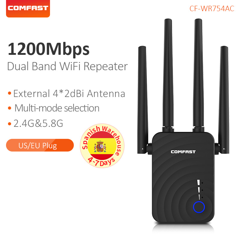 COMFAST CF-WR754AC 1200Mbps Wireless <font><b>WiFi</b></font> Range Extender 2.4/5Ghz Dual Band Repeater Signal Booster with 4 Ethernet Antennas image
