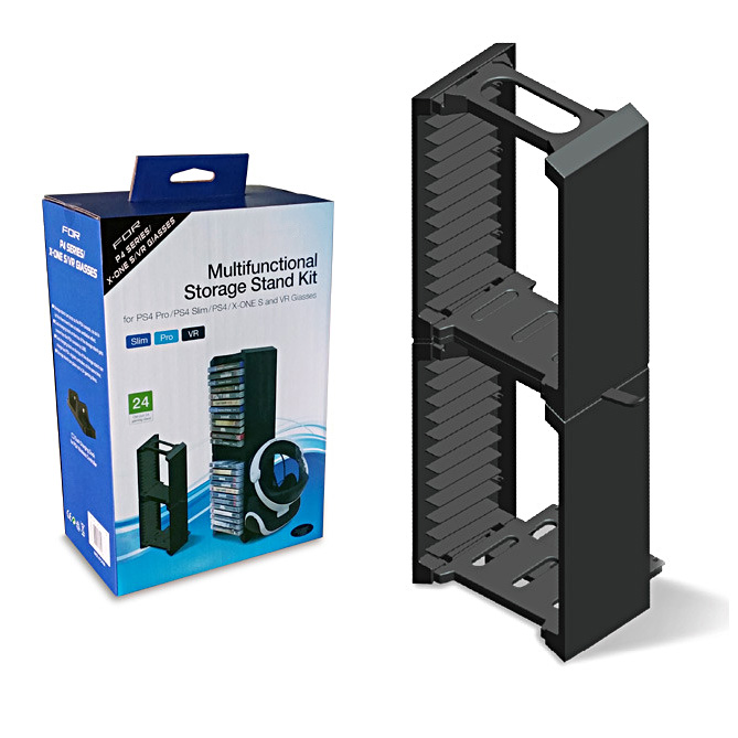 YTTL Multifunctional Dual Ultra-Large Capacity Storage Stand with Game Disk Storage Tower for Xbox One S Slim PS4 P4/Slim/Pro ps4 slim pro cd multi functional dual ultra large capacity disk storage tower for ps4 xbox one host with 24 game disc storage