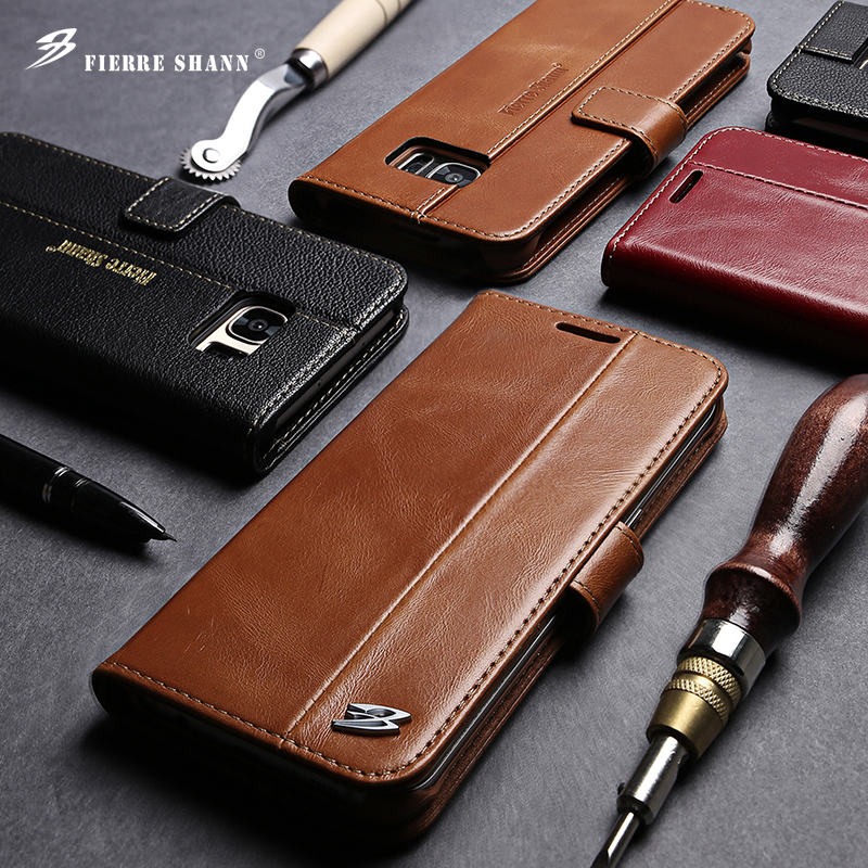 Fierre Shann Luxury Wallet Flip Genuine Leather Cover Case for Samsung Galaxy S7 edge S8 PLUS