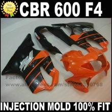 Литья под давлением комплекты для HONDA CBR 600 F4 зализах 1999 2000 CBR600 99 00 оранжевый черный набор зализа пластиковые детали S3
