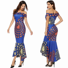 Commuter sexy shoulder blue print high waist bag hip tight irregular dress evening dress dress free shipping цена 2017